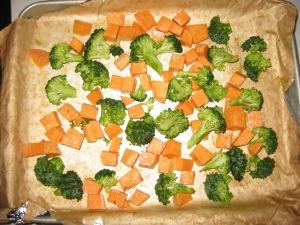 Roasted Sweet Potatoes and Broccoli