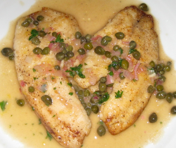 Tilapia in a Lemon, White Wine, Caper Sauce