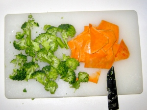 Thinly Sliced Sweet Potatoes and Chopped Broccoli