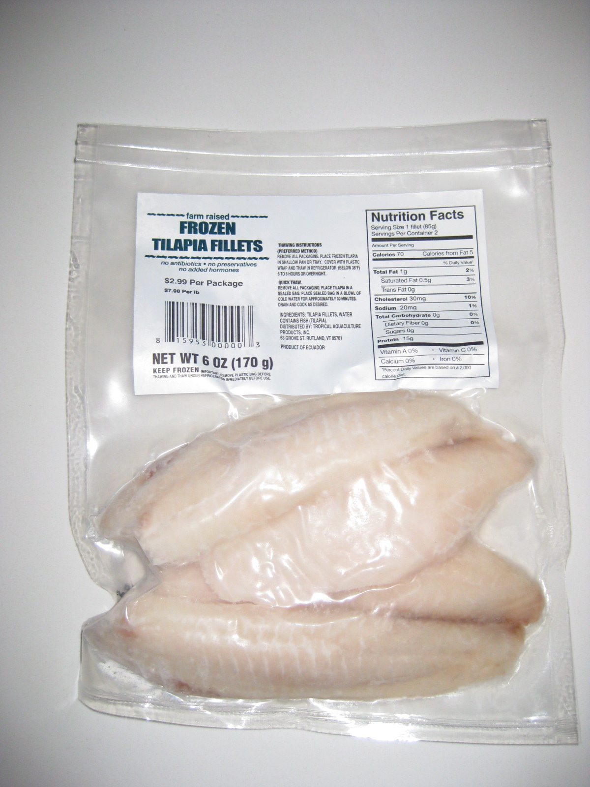 Tilapia fillets anniesdishlist for How to freeze fish fillets