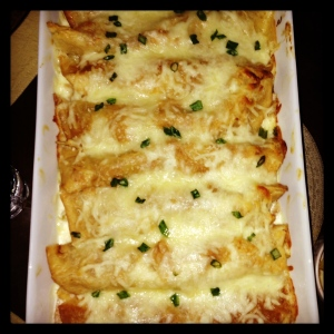 chicken enchiladas suiza out of the oven