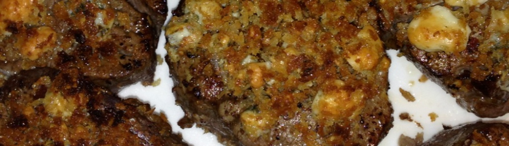 filet mignon with bleu cheese and bread crumbs