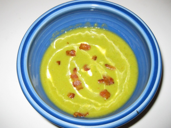 pea soup with bacon and creme fraiche