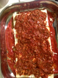beef and sausage lasagna laying
