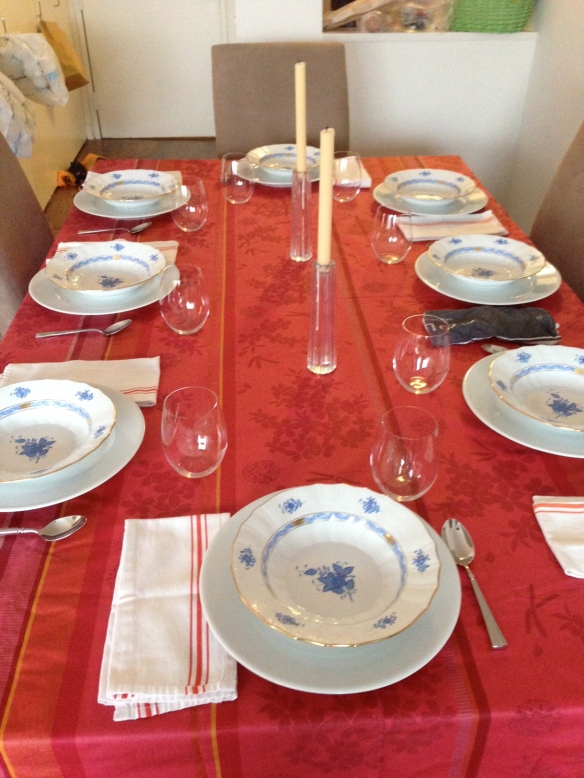 dinner party table setting lasagna 365 brand