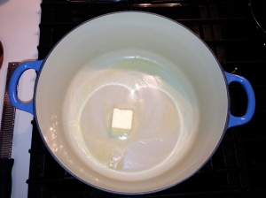 melting butter le creuset stock pot