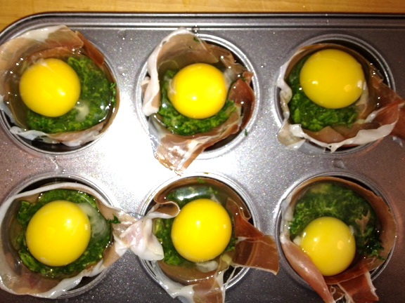 easter egg cups for brunch prosciutto food