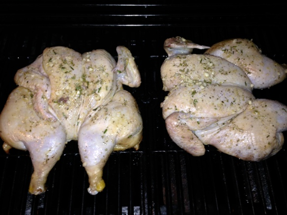 chicken on grill flattened