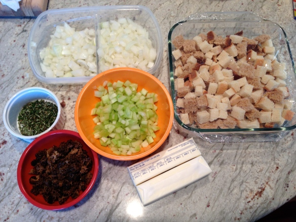 dinner stuffing mise en place