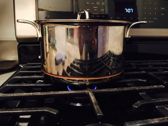This is a terrible picture of my copper core cookware from All Clad at exactly 7:07pm