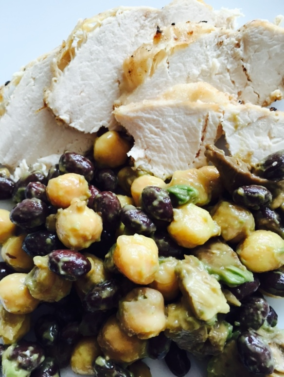 Perfect chicken with bean salad