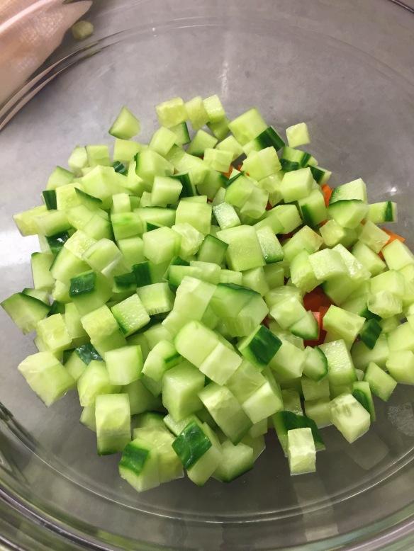 cucumber dices, salad, no lettuce